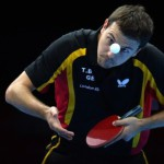Germany's Timo Boll returns a ball to Hong Kong's Leung Chu Yan during the table tennis men's team bronze medal match of the London Olympic games on August 8, 2012 at the Excel arena in London.   AFP PHOTO / SAEED KHAN        (Photo credit should read SAEED KHAN/AFP/GettyImages)